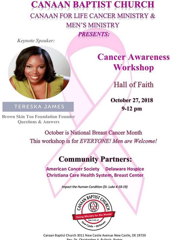 If you're in Delaware or the surrounding area, please come out to support this worthy cause and get valuable information on cancer awareness. All are welcome. . . . . . #brownskintoo #melanomaawareness #skincancerawareness #melaninbrightshinethelight #skincancerdoesnotdiscriminate #caananbaptistchurchofdelaware  #cancerawareness #caananforlife
