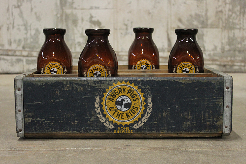 Stubby bottles and crate