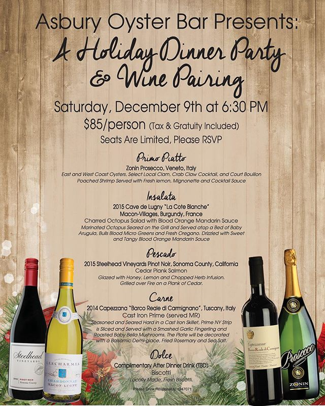 This Saturday! Our lovely neighbors, @asburyoysterbar are hosting a dinner party/wine pairing that you don't want to miss! Spots are limited and filling up fast 🍷🍲 🤗 #asburypark