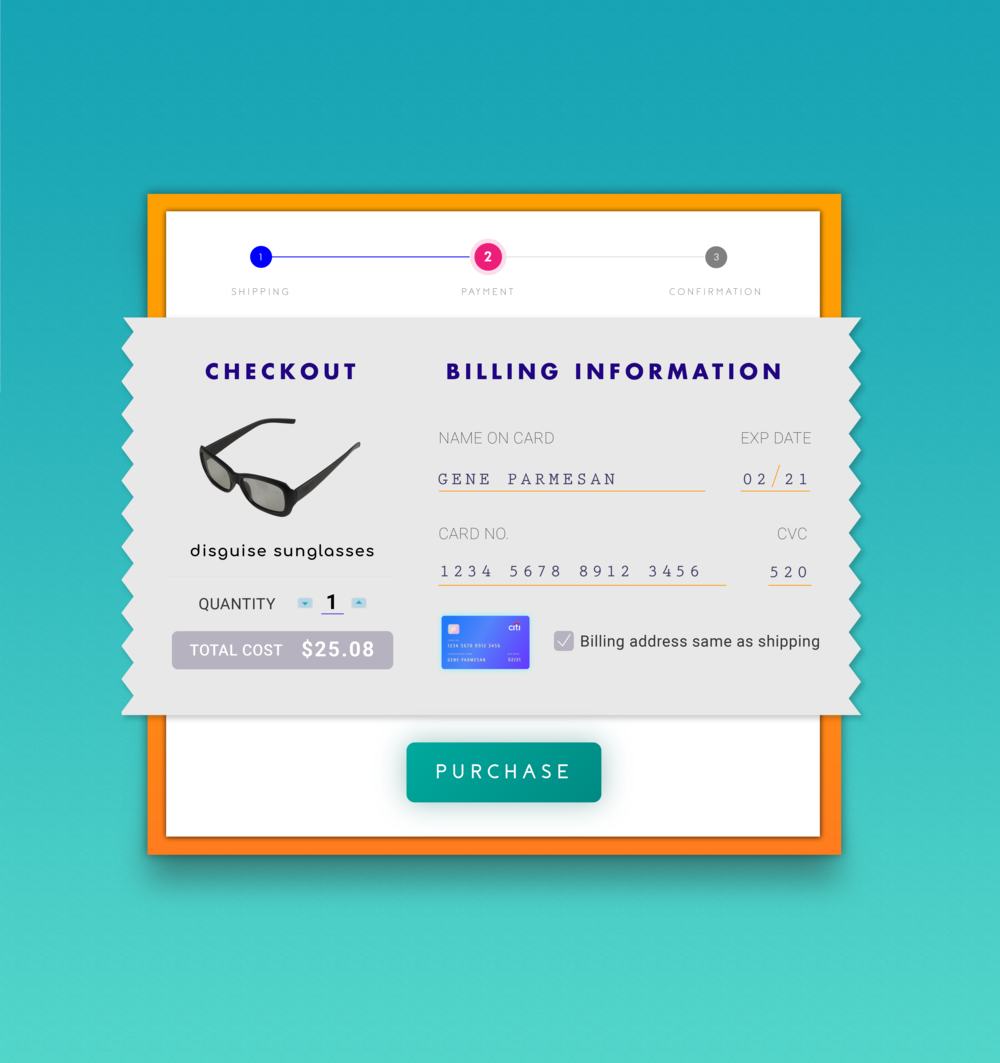 Day #2: Credit Card/Checkout Screen