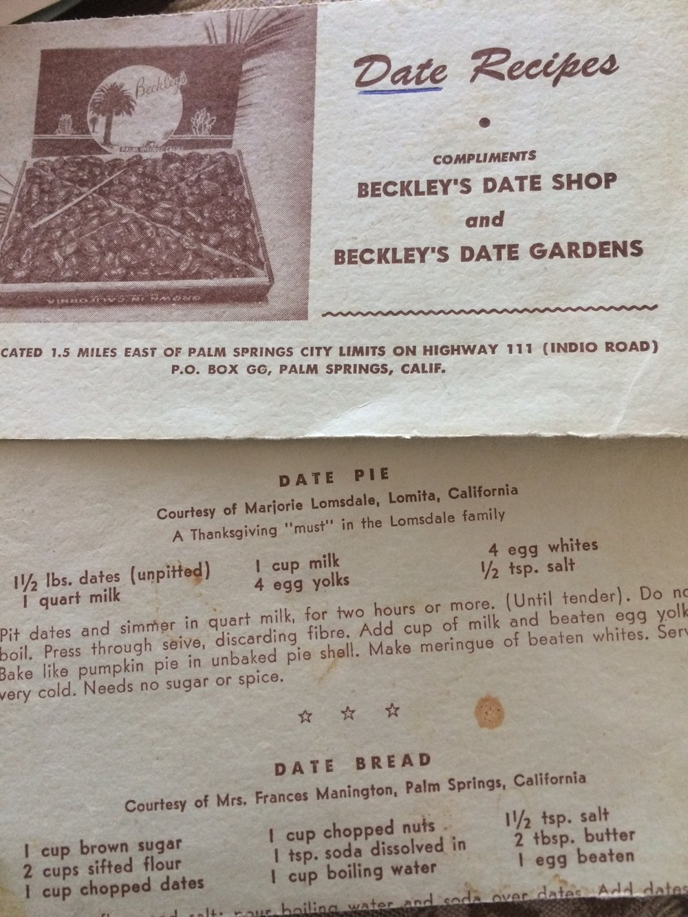 My stepmom Margie's recipe published by Beckley's Date Shop, circa 1955.  Notice the underlined word, Date.  It indicates where this card was filed in her 3x5 scotch plaid recipe box.