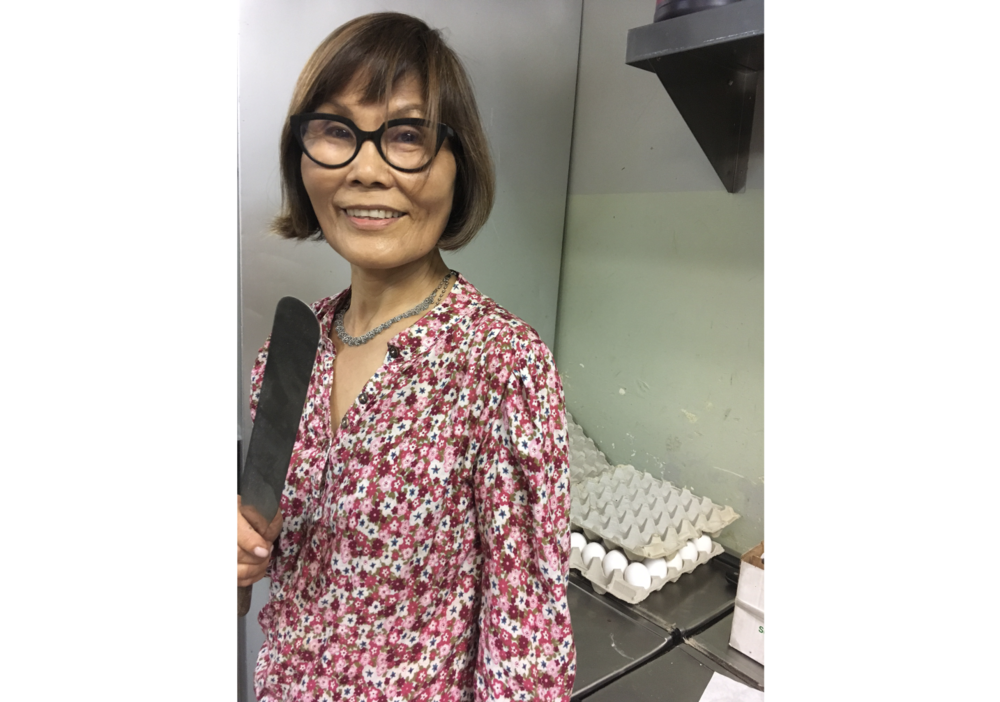 Sumi Chang of  Europane Bakery  with one of her favorite baking tools, an offset spatula.