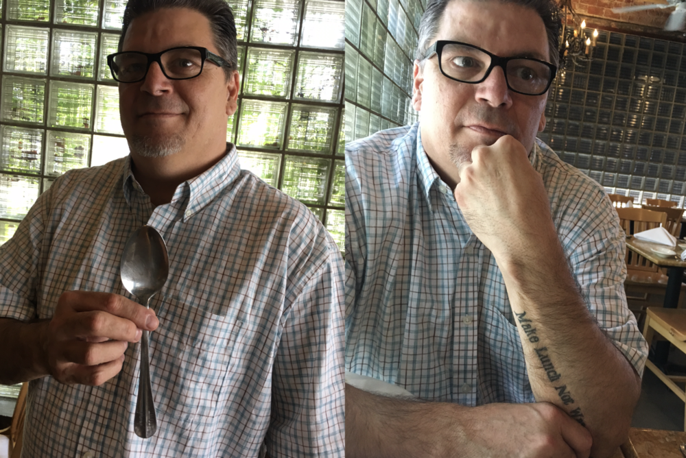 Steve Brown, executive chef and former teacher at the  New School for Cooking  and his special spoon with his name engraved on the handle, a gift from a sous chef.