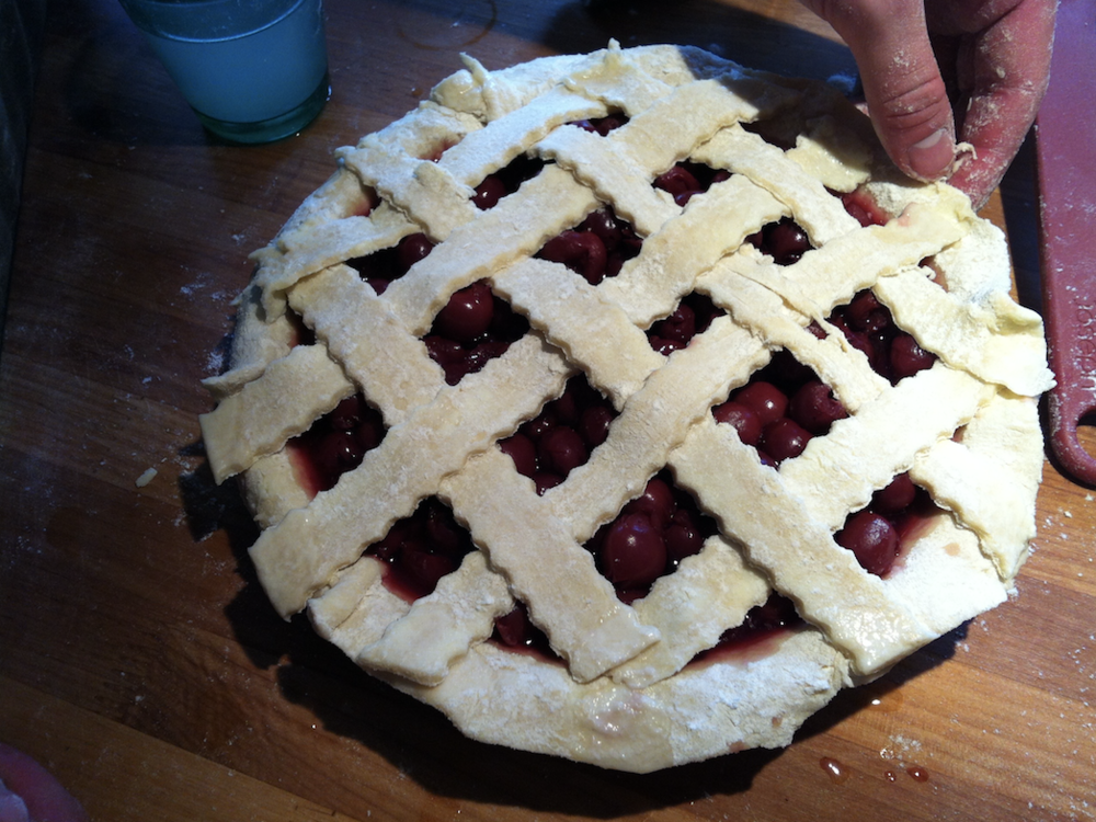 Son John's first attempt at pie making.It was good, but not great--a thick and somewhat hard crust.