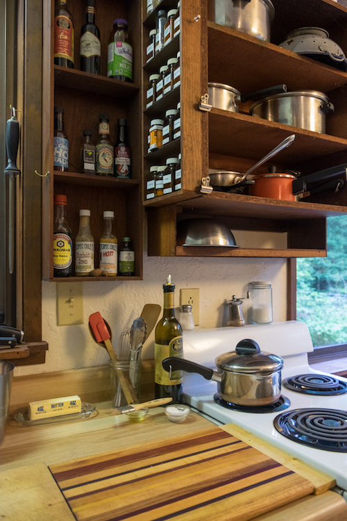 Brother-in-law David's kitchen with essence of ship galley. Only the necessities for his cooking style. Photograph by David Callow.