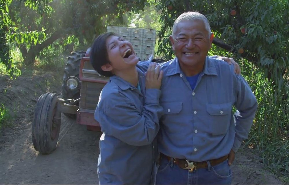 Nikiko and Mas Masumoto at the Masumoto farm, photo courtesy of Valley Public Radio.
