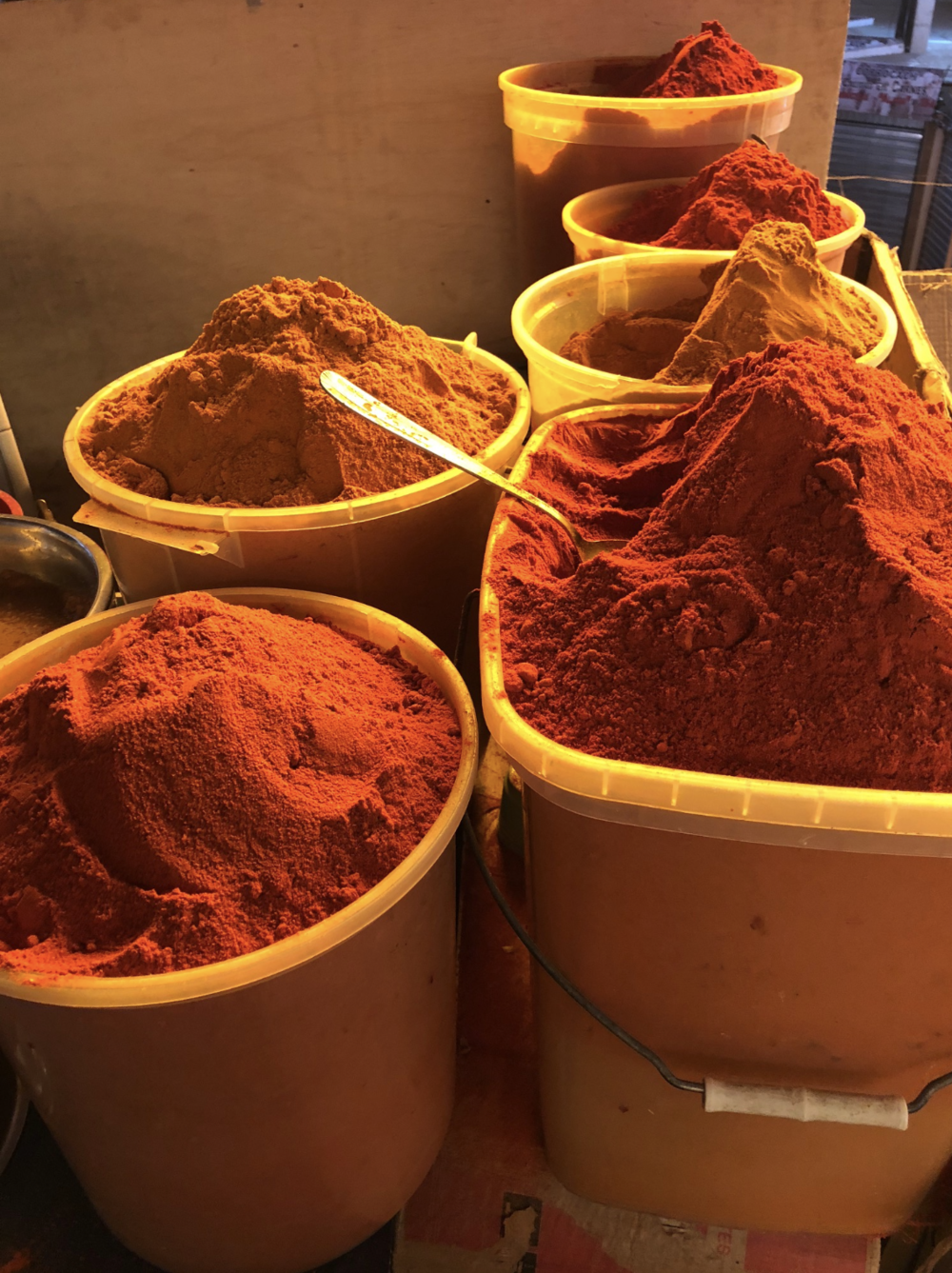 Bags of chile powder at the Sucre Central Market in Bolivia.