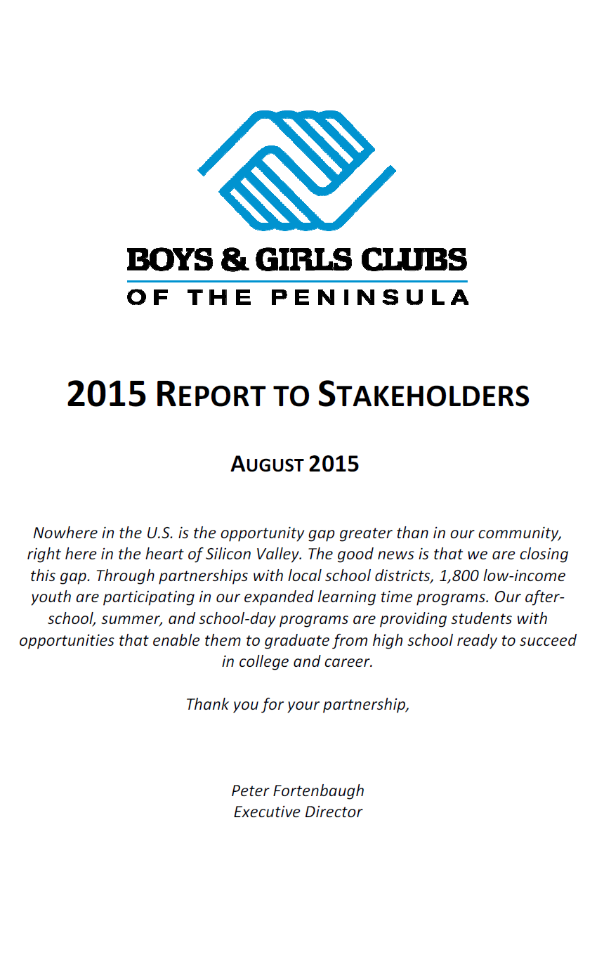 2015 Report to Stakeholders
