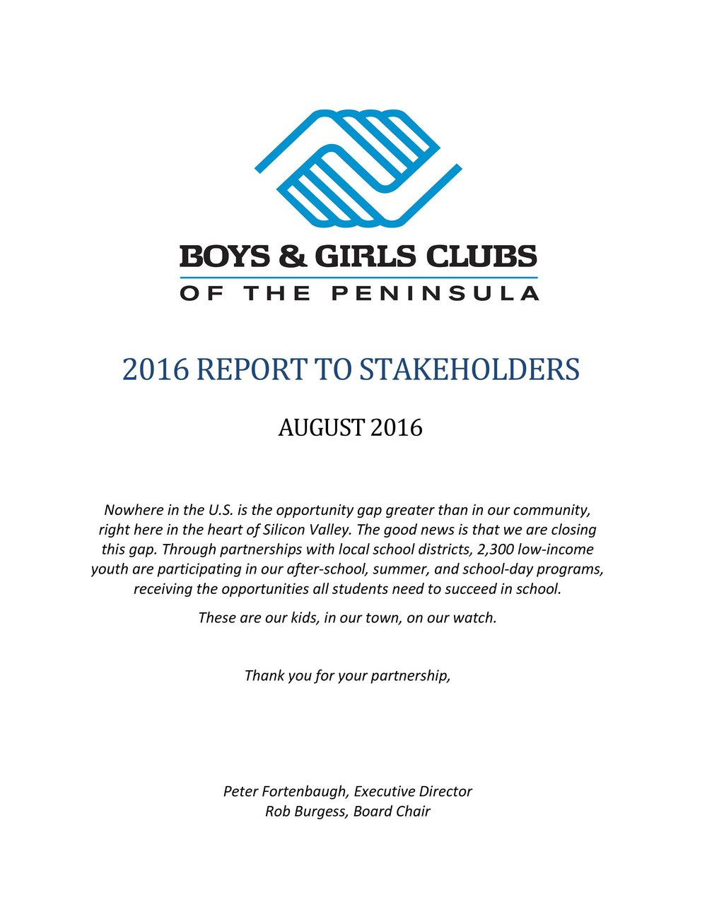 2016 Report to Stakeholders