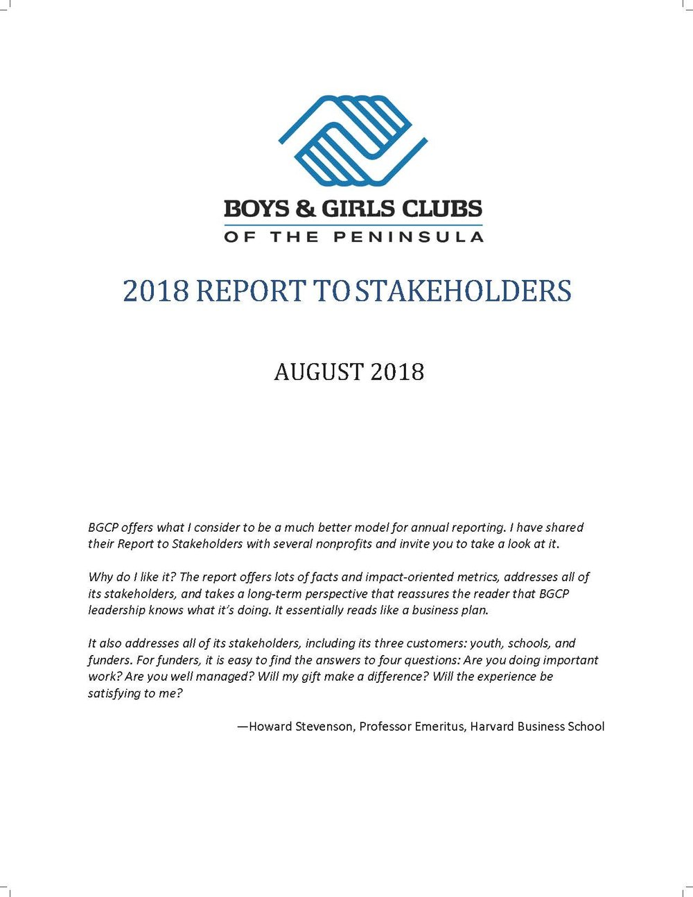 2018 Report to Stakeholders