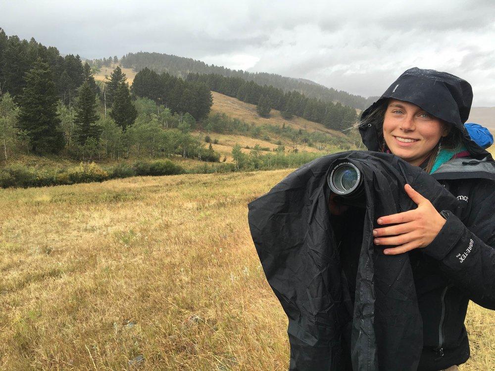 Neither rain, sleet, snow or hail can keep Abby from taking photos
