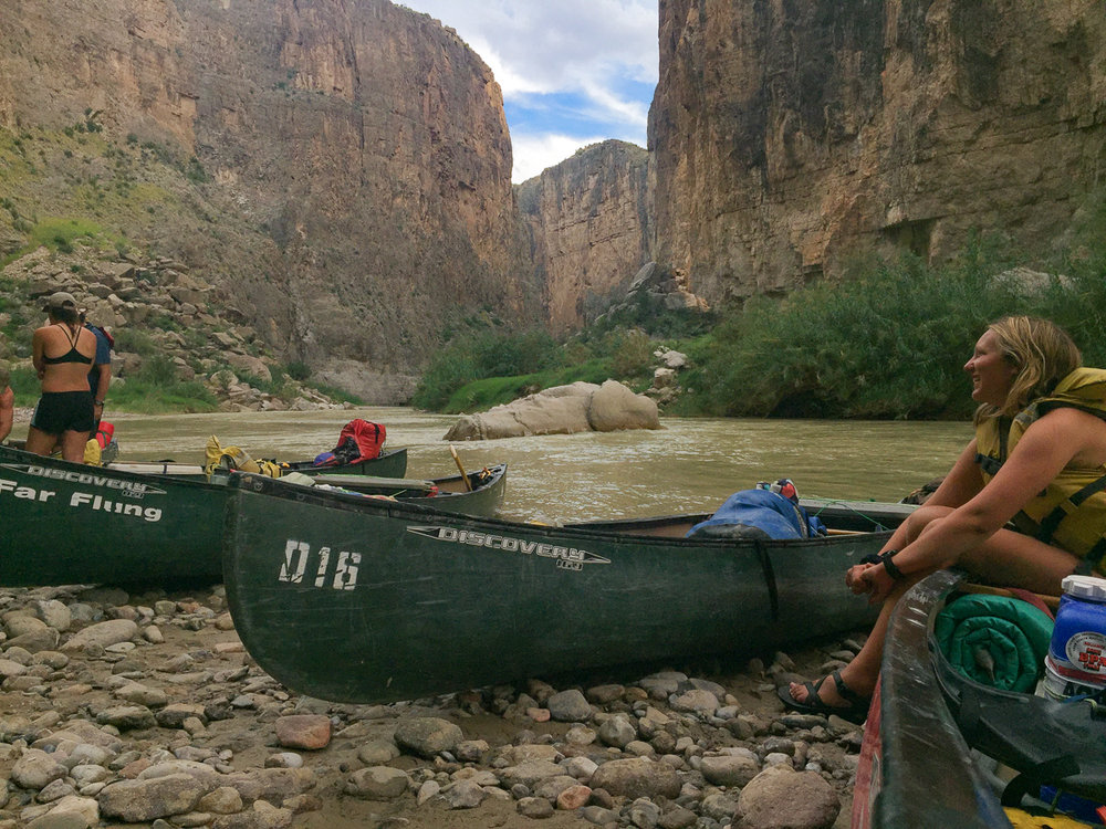 Signe contemplates Santa Elena Canyon