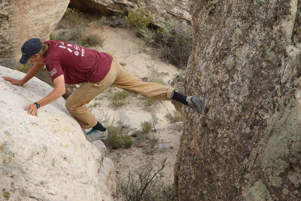 Fields finds time to keep his bouldering skills sharp