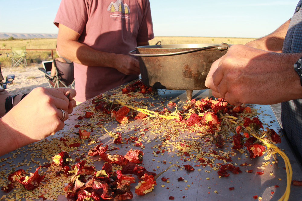 Making red chile sauce near Hatch, NM