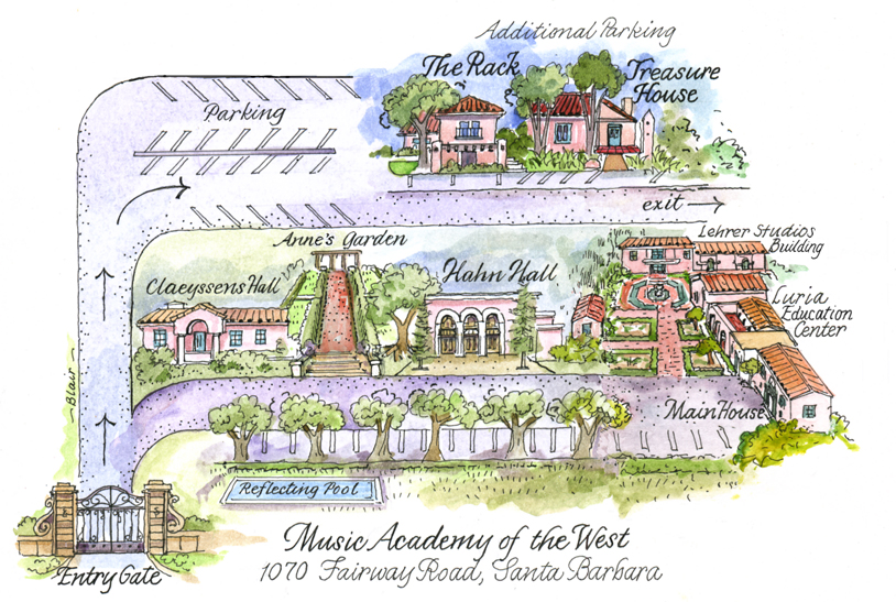 Music Academy of the West map illustration by Janice Blair