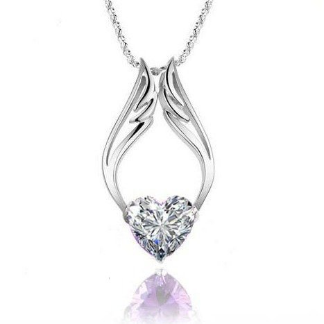 "Fashion White Gold Plated Heart White Diamond Angel Wings Pendant With 18"" Necklace Chain"