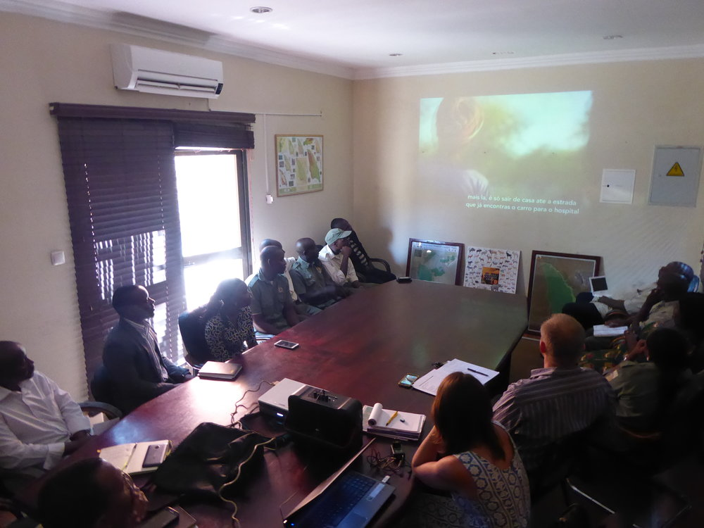 Screening ORPHANS OF THE LAND at the Limpopo National Park headquarters in Massingir.