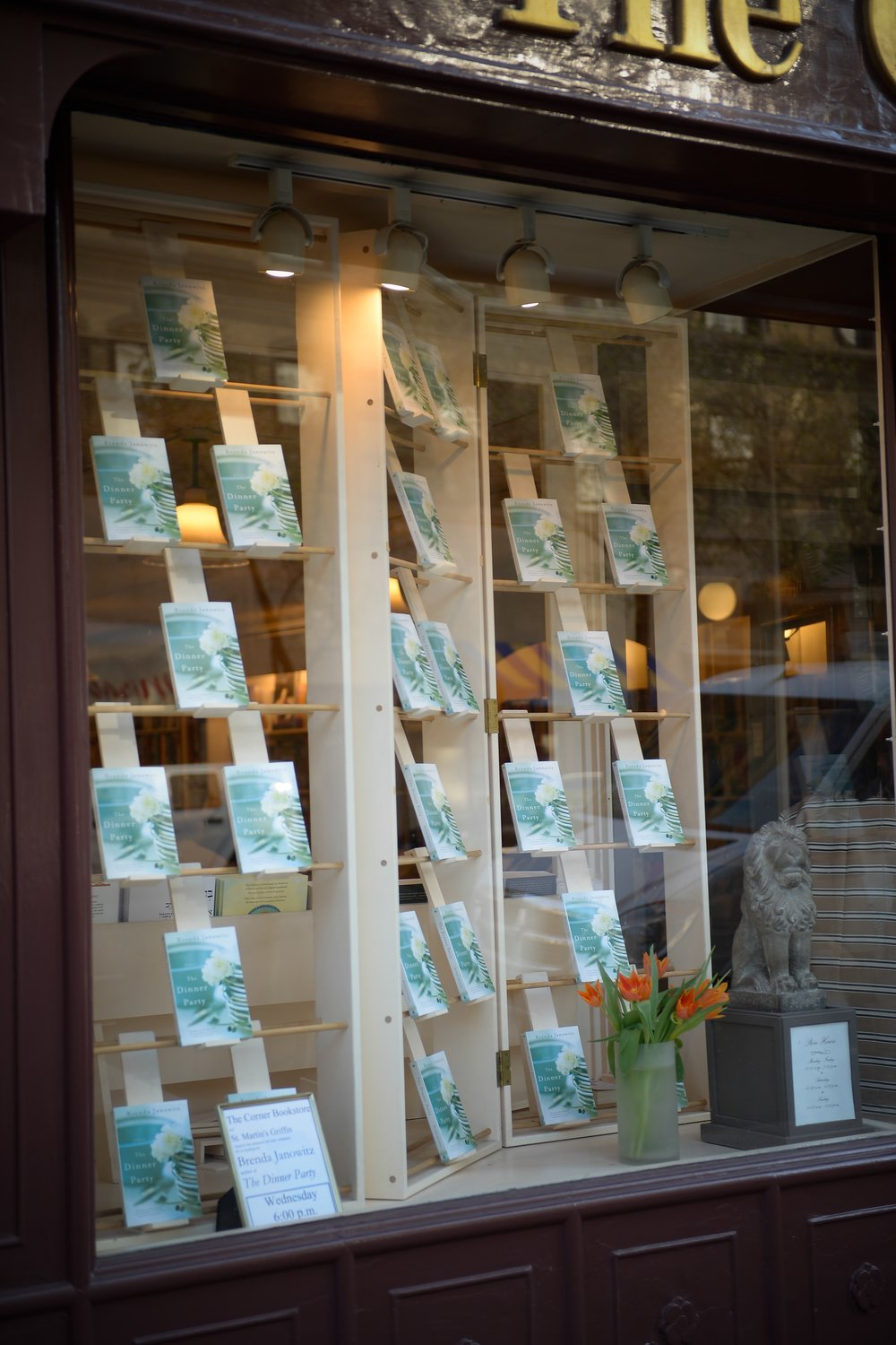 Such a proud moment to see the book covering the window at Corner Bookstore!