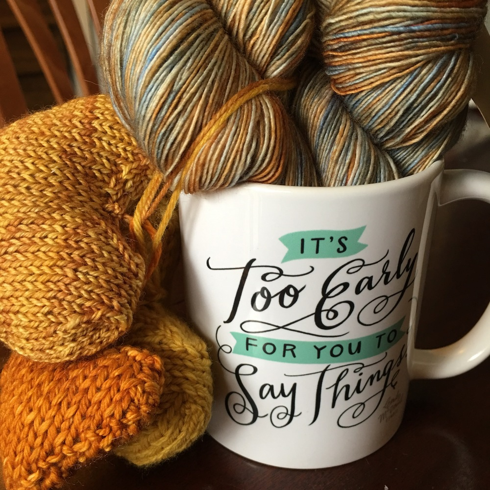 Madelinetosh   Praire in Earl Grey Mug from   Atticus   and knit hearts   Ewe Ewe Heart Heart   and   Love You Forever   from Tanis Fiber Arts
