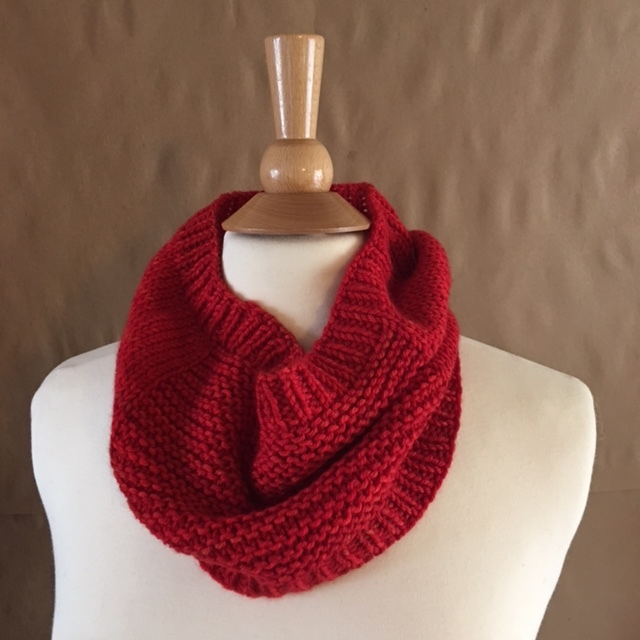 Tin Can Knits Oats cowl in Sweet Georgia SW Worsted, Blood Orange.