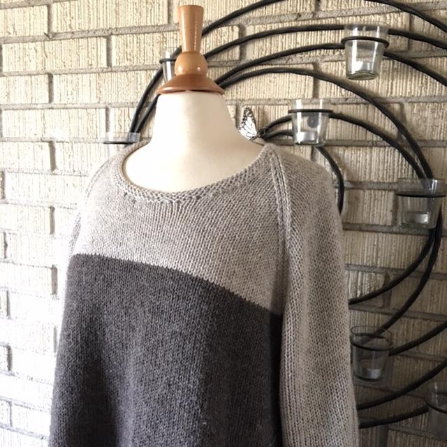 Cala Luna Sweater by Christina Ghirlanda in Classic Elite Vista colors Ash and Beaver Gray