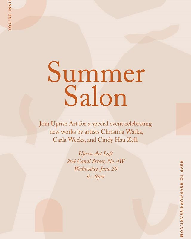 Hi New York friends! Excited to announce that my two newest works (Pulley and Squiggle Tassel) will be on display and available at the @uprisenyc Summer Salon on June 20 featuring artists @carlajweeks and @christinawatka 🙌 Please stop by and see some art in person!