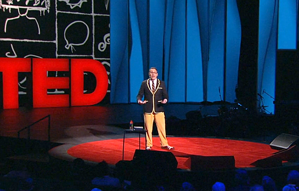 Chip Kidd from TEDTalks, California 2012. Screen capture from TED.com