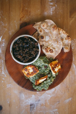 Saag, spiced wild rice, roti copy.JPG