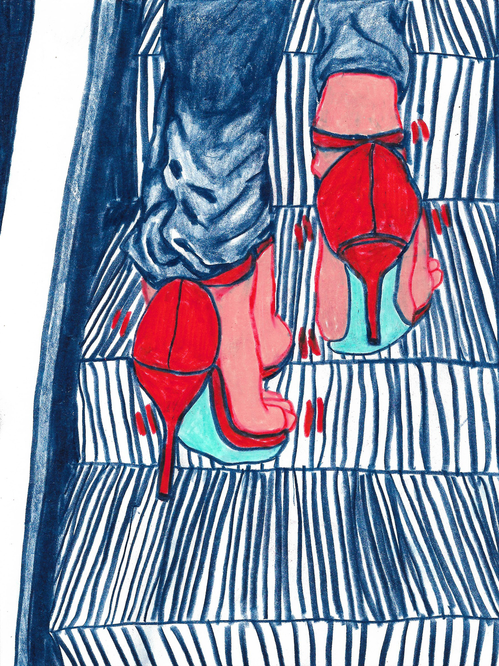 Wobbly Stilettos on Escalators