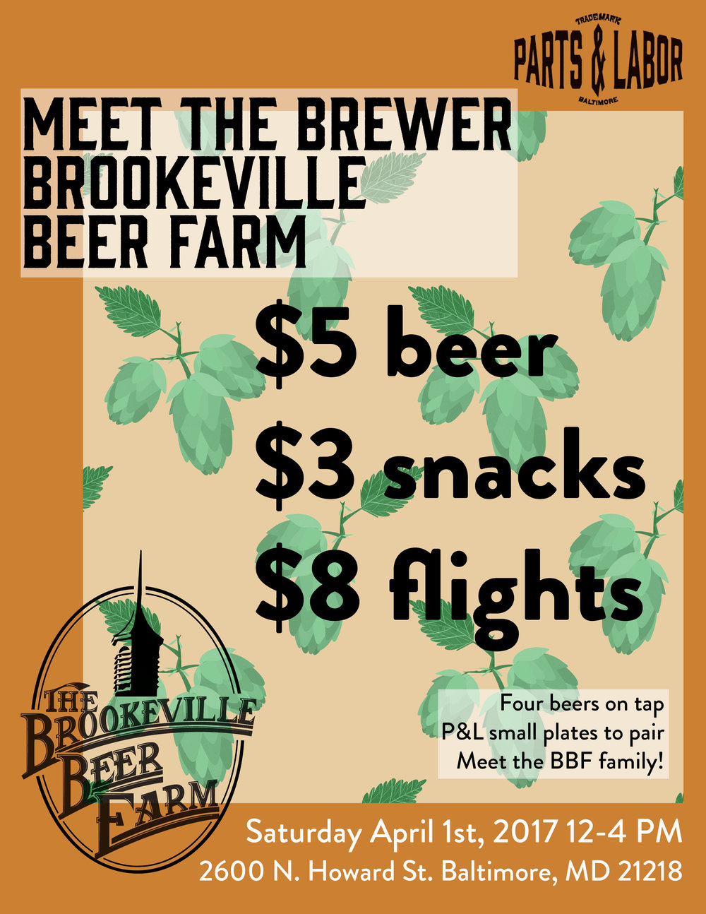 Flyer for Parts & Labor and Brookeville Beer Farm  Pattern and Design