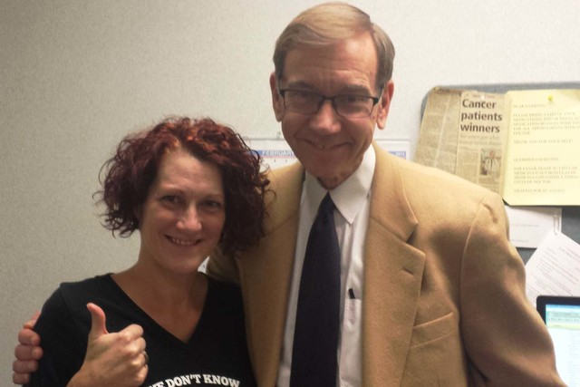 Dr. Nicholas Vogelzang and patient Lysa Buonanno are happy that a drug used by Vogelzang on her Stage 4 cancer has made her cancer free. Courtesy of CCC of Nevada.