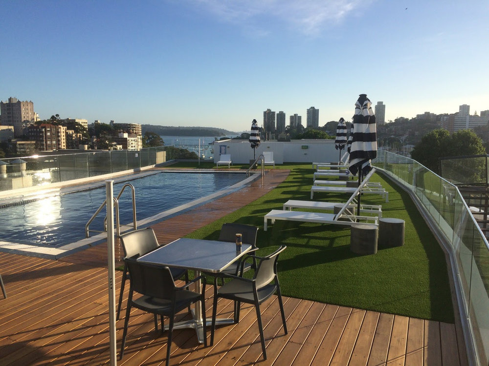 Synthetic grass was used in this pool area at a hotel in Rushcutters Bay. The grass area makes it very appealing to be in this space. It softens what could be a harsh area, giving value to the customers which in turn increases occupancy of this hotel.