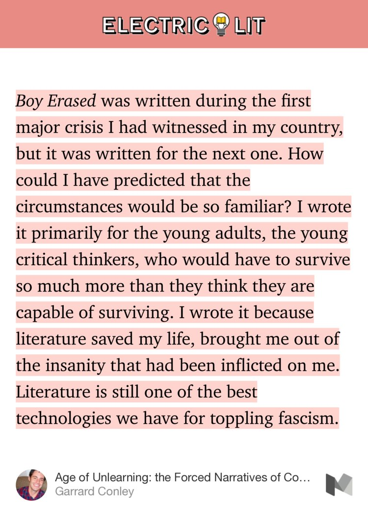 garrard conley essay excerpt from boy erased in electric lit rarr