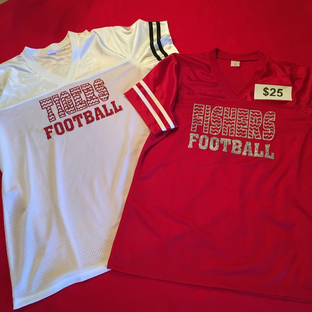 SW Ladies football jersey w glitter logo- red or white