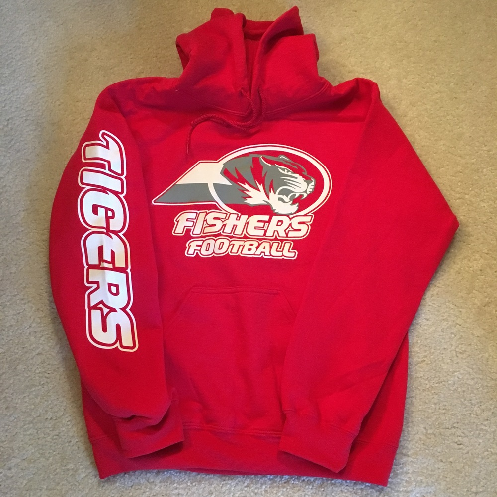 SW Red hoodie w front and sleeve logo