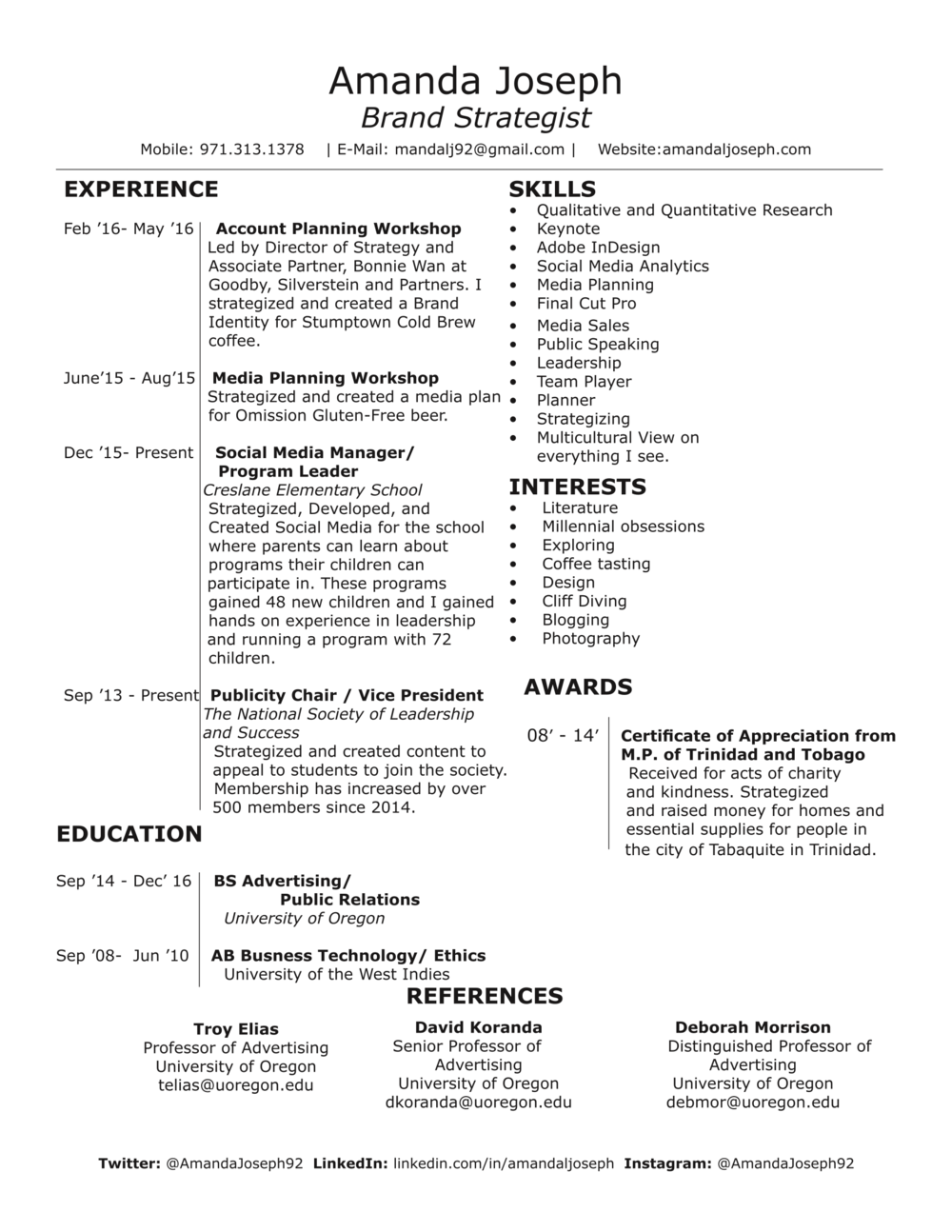 Resume National Society Of Leadership And Success Resume amanda joseph resume png