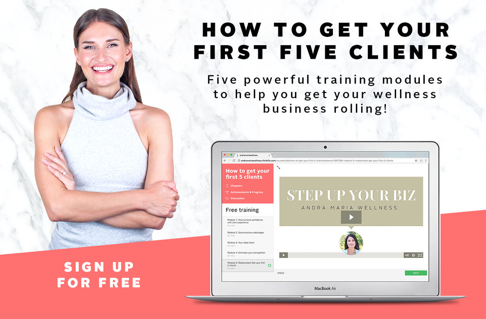 download this free 5 module training: how to get your first 5 clients!