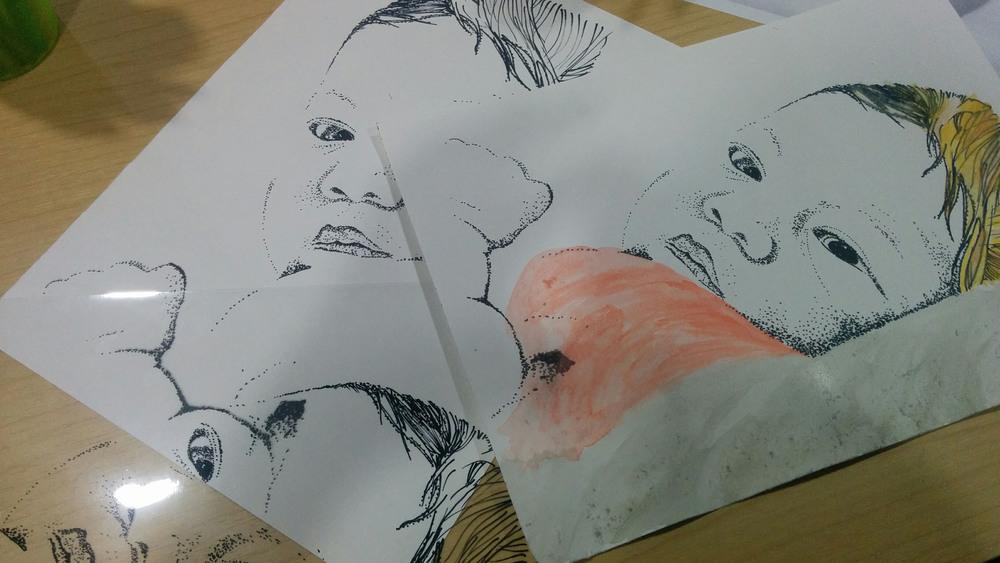 Percobaan men-trace foto bayi baru lahir oleh Veve.