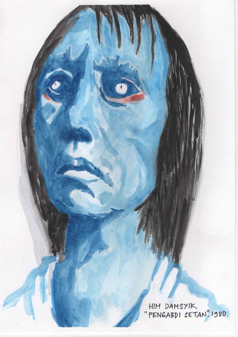 Judul : H.I.M Damsyik (portrait) Artis : Jali Medium : Cat air di kertas