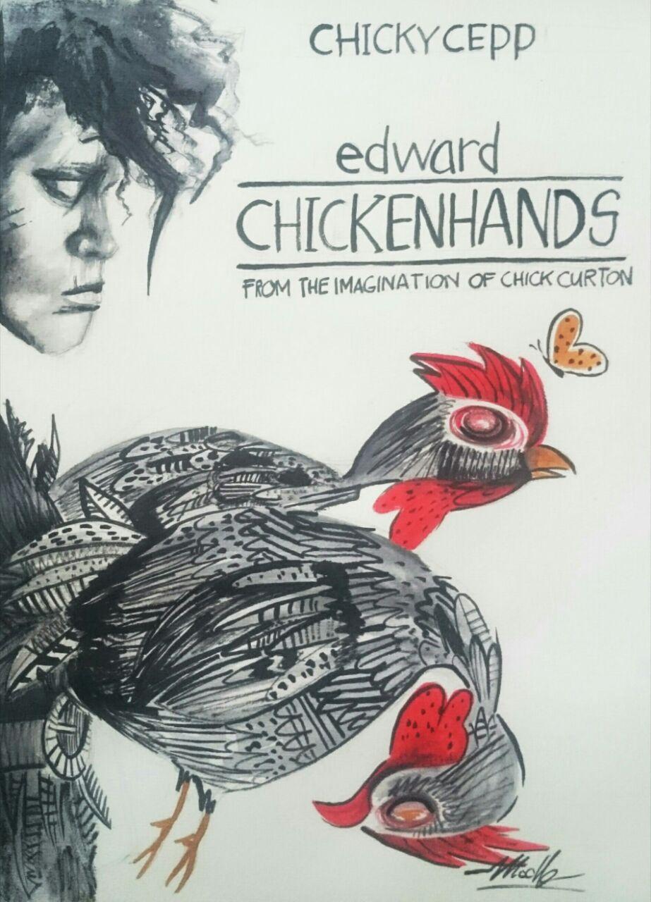 Judul : Edward Chickenhands Artis : Muning Medium : Watersoluble Graphite, ink, ecoline di kertas