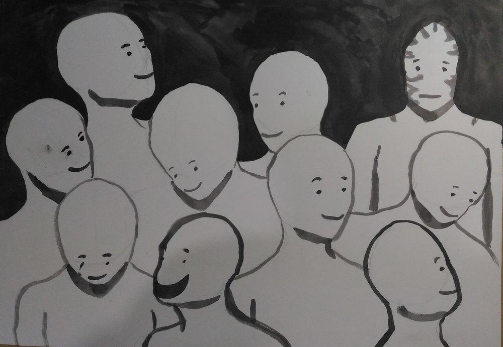 """Judul : """"Semua orang senang... Bagaimana kalau aku tidak"""" Artis : Kevin William Medium : Tinta cina di kertas"""
