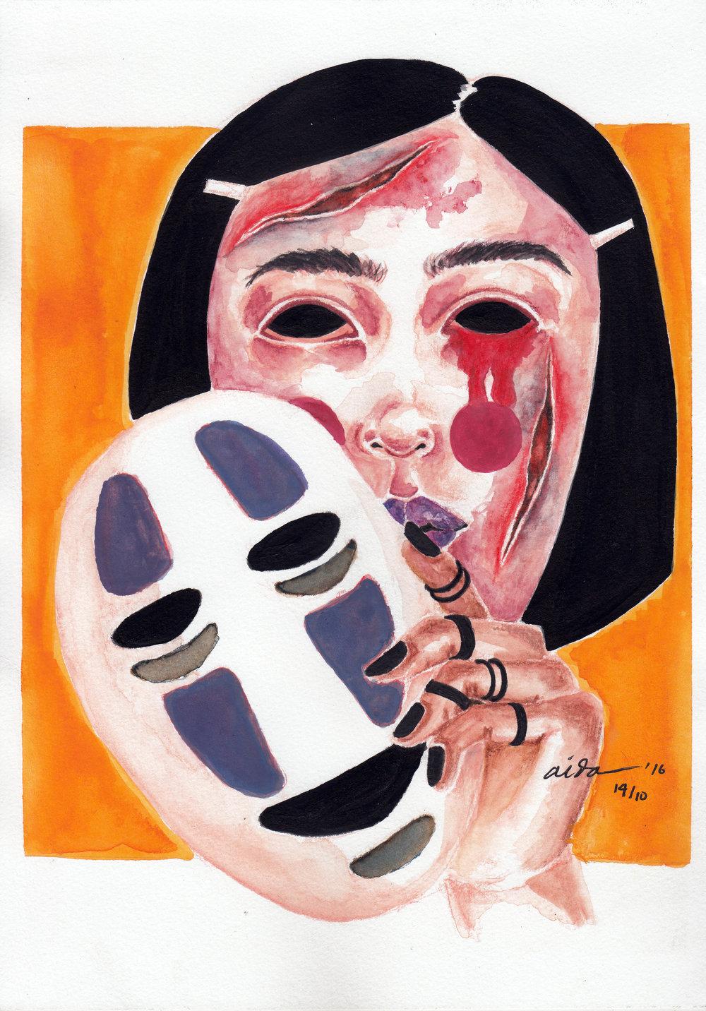 "Judul : ""PAIN IN PRINCESS"" Artis : Aida Juhandi Medium : Ink and water color on paper"