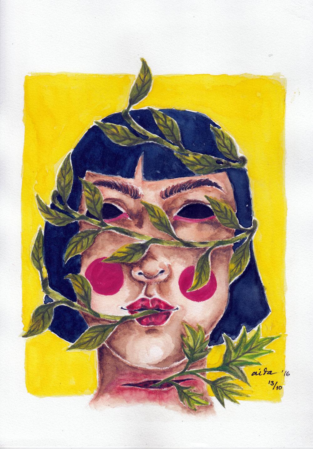 "Judul : ""LEAF CIRCLE"" Artis : Aida Juhandi Medium : Ink and water color on paper"