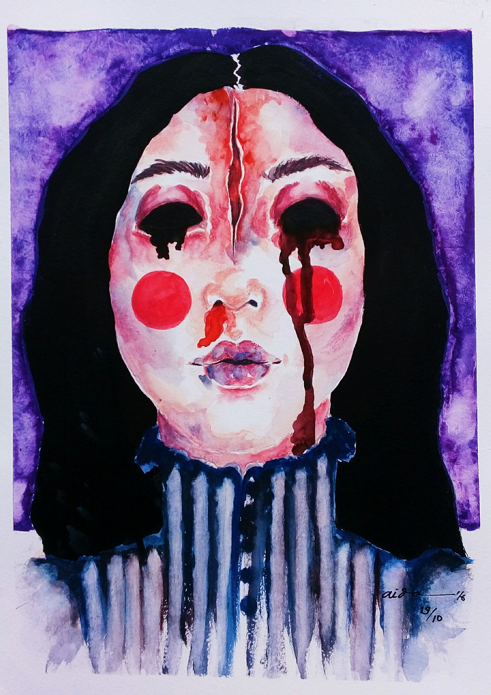 """Judul : """"BLOODY MARY"""" Artis : Aida Juhandi Medium : Ink and water color on paper"""