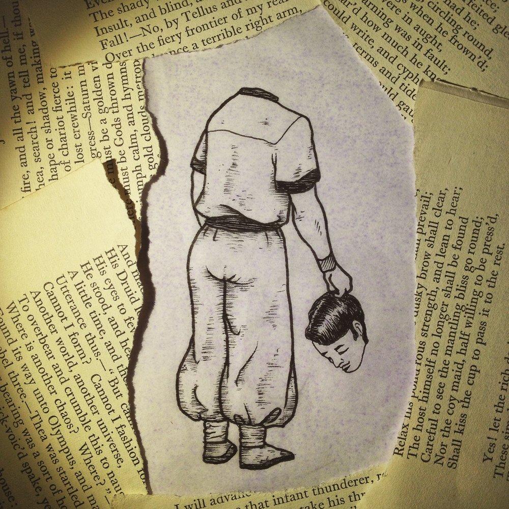 """Judul : """"Calm"""" Artis : Kedai Tato Bahagia Medium : Drawing Pen, Book Paper 90g"""