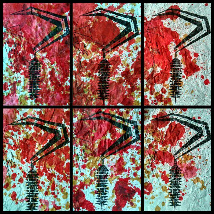 """Judul :""""Devosi untuk perjamuan terakhir...."""" Artis : Joko @djxtagrass Medium : 6 lembar A3, Tinta stempel, cairan obat luka luar, tinta pena hitam & foto kopian."""