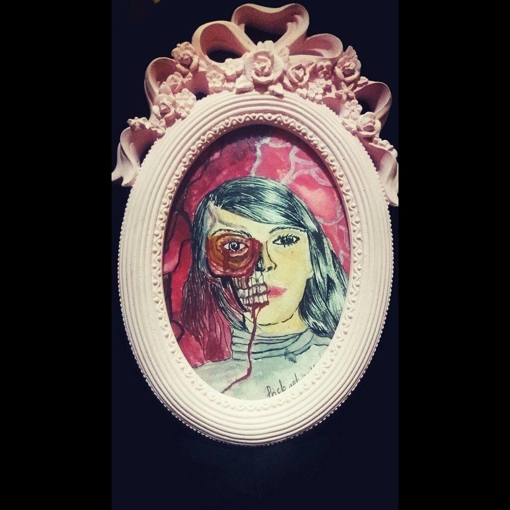 """Judul :""""Spooky is Beautiful"""" Artis : Cahayaa Priska Medium : Watercolor on paper"""