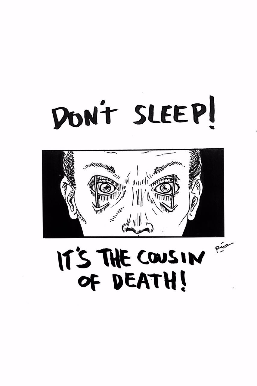 """Judul :""""Insomniac"""" Artis : Mario Noya Medium :Pen & Brush on paper"""