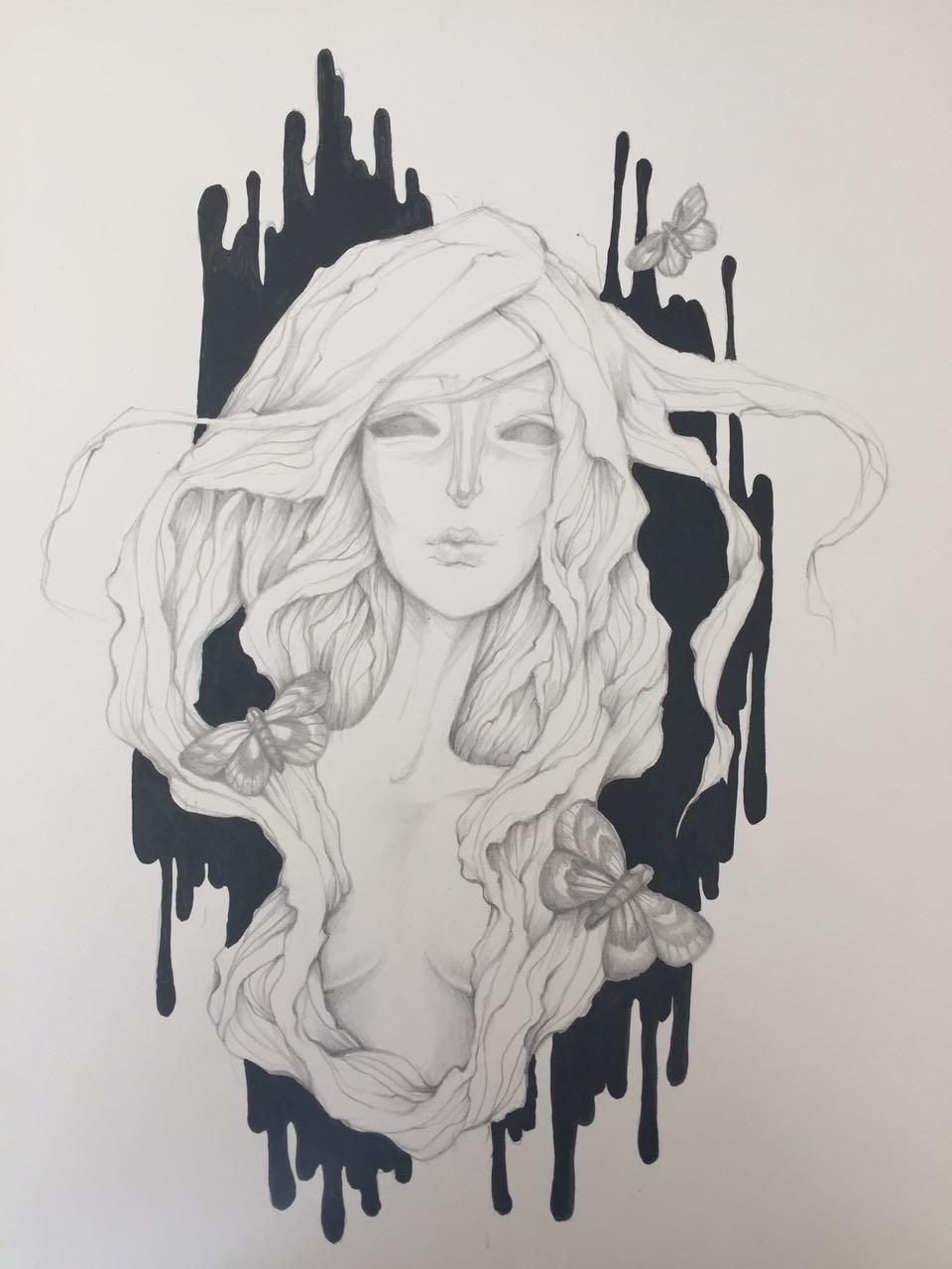 "Judul :""Moth"" Artis : Ica Medium :Graphite drawing + acryllic on paper"