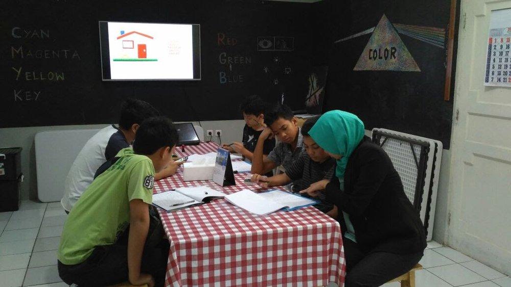 Kelas SMC di Serbarupa : satu meja rame - rame antara Mentor dan Murid.